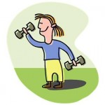 woman lifting weights cartoon