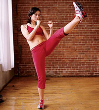 Front Kick A jab with the heel of the foot; can be done with either leg.