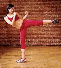 Side Kick This kick is the strongest, because the force comes from the glutes. Keep your foot flexed as you kick out.